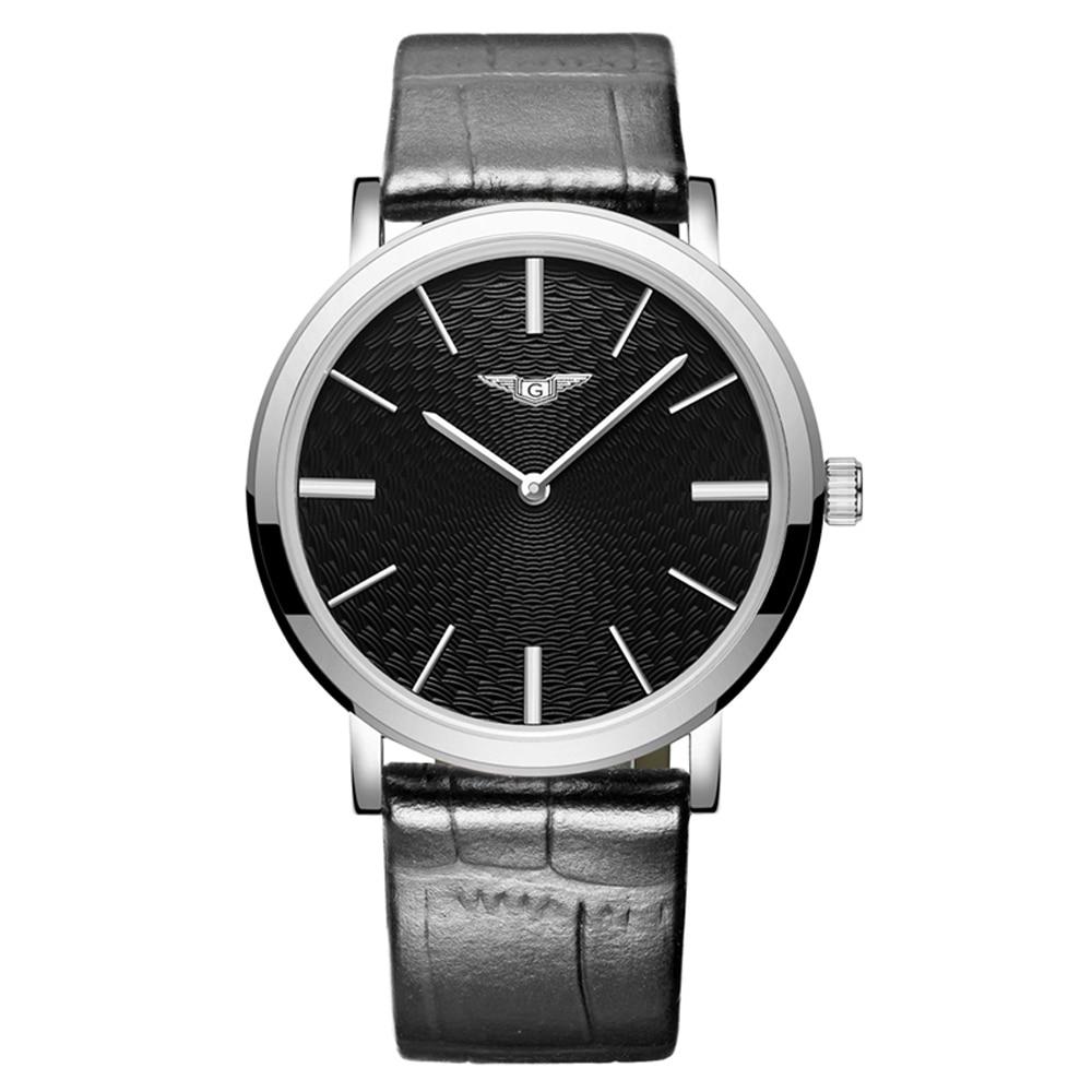 где купить GUANQIN GS19026 Mens Watches Top Brand Luxury Fashion Casual Ultra Thin Watch Simple Men Leather Wristwatch relogio masculino по лучшей цене