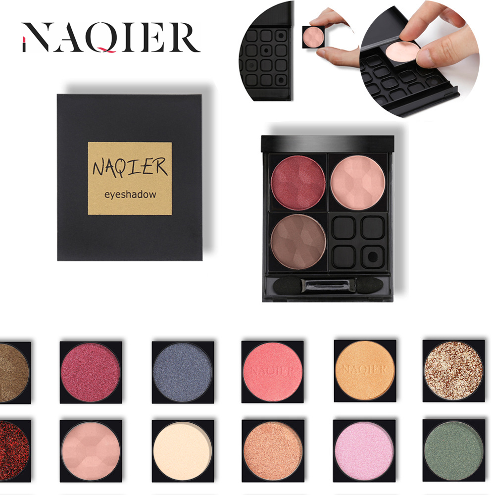 NAQIER Custom Eyes Makeup DIY Combination Eyeshadow Nude Palette Matte Eye Shadow Glitter Powder Shadows Set Buy 4color Get 1box