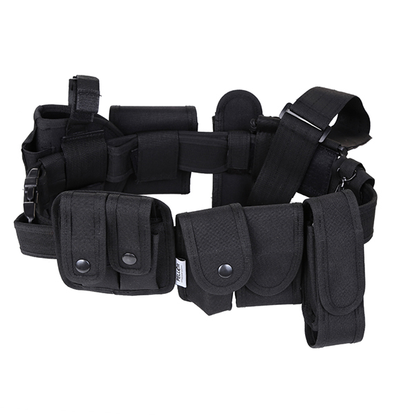 Outdoor Multifunction Tactical Belt Security Police Guard Utility Kit Nylon Waist Belt Black With Holster
