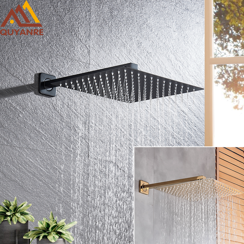 "Matte Black Gold Shower Faucets 8/10/12"" Rainfall Ultrathin Shower Head With Wall Mounted Shower Arm Bathroom Shower Accessories"