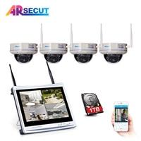 ARSECUT WIFI PNP 4CH 12Inch NVR Kit Wireless CCTV System 4CH 960P Waterproof IP Dome Camera