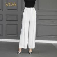 VOA тяжелый шелк белый женские офисные Широкие штаны Для женщин Повседневное длинные брюки формальный основной костюм брюки осенние свободн