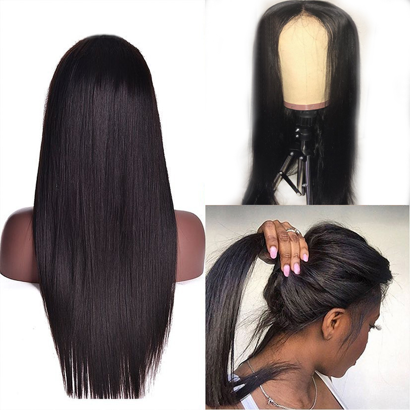 13x6 Deep Parting Preplucked Lace Front Human Hair Wigs With Baby Hair Straight Brazilian Remy Wig