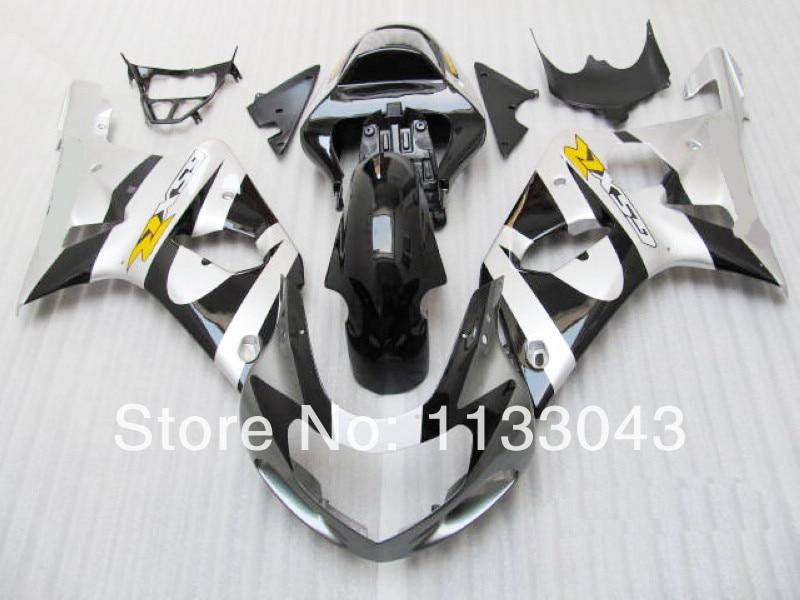 Fit ВПРЫСКА Черный Серебряный обтекатель комплект для SUZUKI GSX-R1000 GSXR1000 GSX R1000 GSXR 1000 K2 K1 00 01 02 2000 2001 2002 Fairi