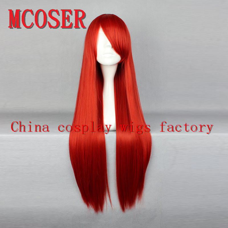MCOSER 101# Adult Red Long Straight Cosplay Wig FAIRY TAIL Elza Scarlet Woman Wig Party