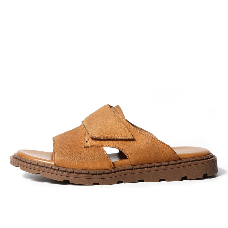 British retro cowhide Genuine Leather mens Roman sandals Sneakers Men Slippers Flip Flops casual Shoes beach outdoor anti skid in Slippers from Shoes