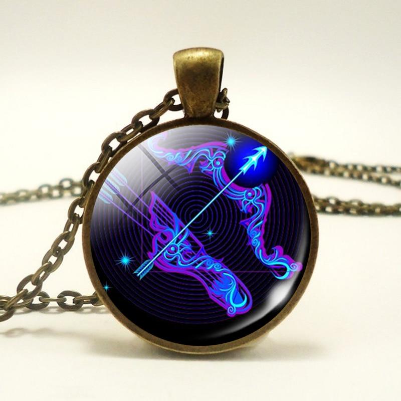 Модные 12 созвездий стеклянный купол Подвеска бронзовое ожерелье зодиака винтажный Знак зодиака драгоценные камни для мужчин и женщин кабошон ювелирные изделия подарок лев