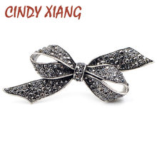 CINDY XIANG Rhinestone Bow Brooches for Women Vintage Black Brooch Pin Elegant Large Broches Fashion Jewelry High Quality Gift(China)