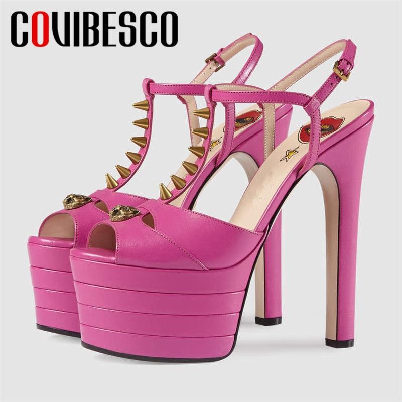 COVIBESCO 2019 conception de marque bout rond boucle plates-formes femmes sandales en cuir Pu Super talons chaussures de nuit d'été femme