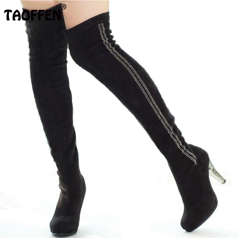 Free shipping knee boots high heel shoes winter fashion sexy warm long women boot pumps P2227 on sale size 34-39