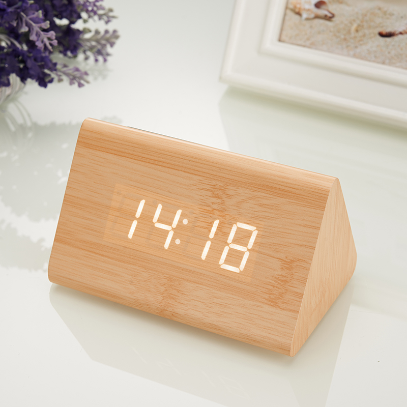 New Temp + Date + Time Wooden Alarm Clock Sounds Control White Led Electronic Alarm Clock Night Glowing Reloj Despertador