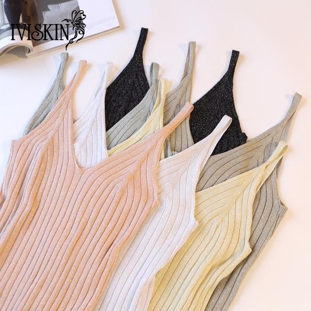 2cacb747d1c98 Gold Thread Crop Tops Women 2018 Knitted Tank Tops Sexy Top Vest Summer  Camisole Women White Tank Top Fitness Femme Tshirt