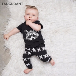 TANGUOANT Baby Boys Clothing Sets Baby Girls Boys Fox Cotton Tops T-shirt+Pants Leggings 2pcs Outfits Set Costume Boys Clothes