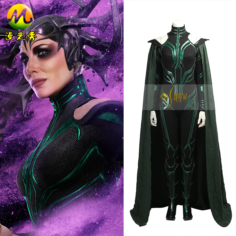 2017 New The Thor 3rd Hela Cosplay Costume for Adult Women  Halloween Fancy Costumes  Full Set sexy black leather battle suit