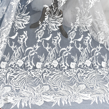 European Creative Flower Embroidery Lace Fabric Church Wedding Dress Decoration Diy Material Handmade Accessories Ivory White