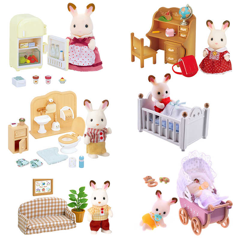 Sylvanian Families Dollhouse Furniture Playset Rabbit & Accessories Toy Figure Set Girl Gift New