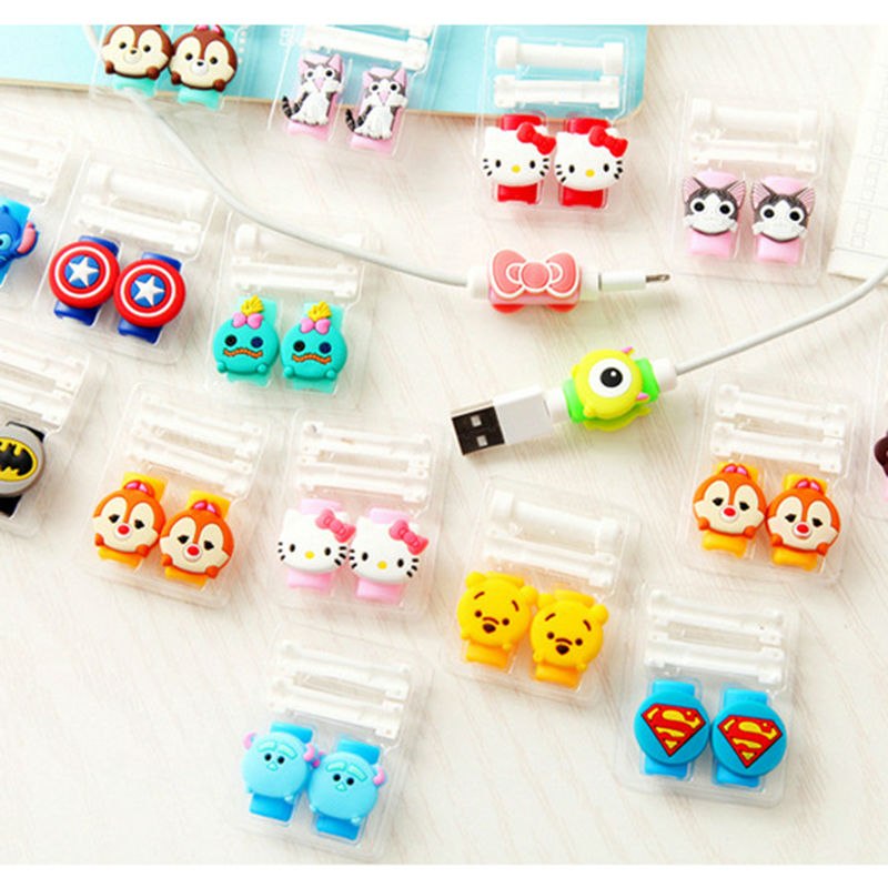 1 Cartoon 8 Pin Cable Protector de cabo USB Cable Winder Cover Case For IPhone 5 s SE 6 6s 6splus 7 7S plus cable Protect stitch 3