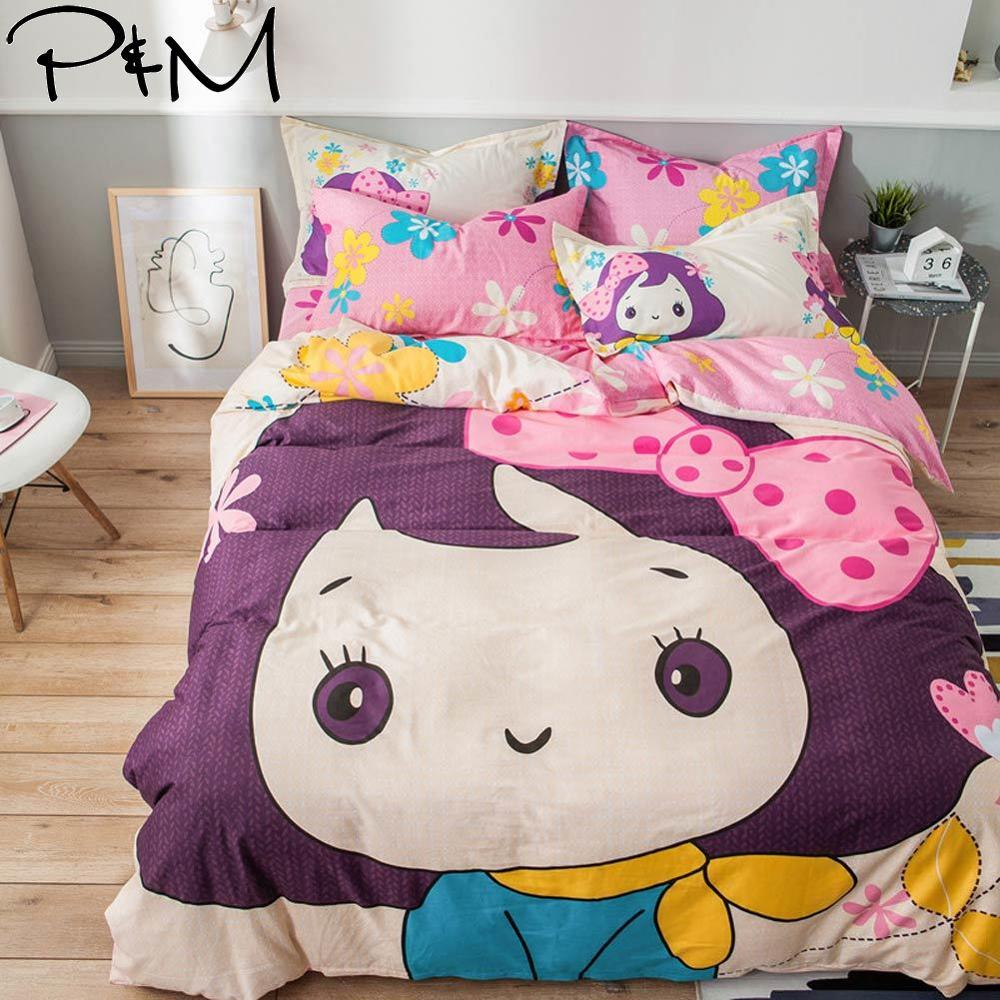 2019 Cartoon Cute Girl Pink Bedlinens Twin Full Queen Size Flat Sheet Fitted Sheet Duvet Cover Set Cotton Bedding Set2019 Cartoon Cute Girl Pink Bedlinens Twin Full Queen Size Flat Sheet Fitted Sheet Duvet Cover Set Cotton Bedding Set