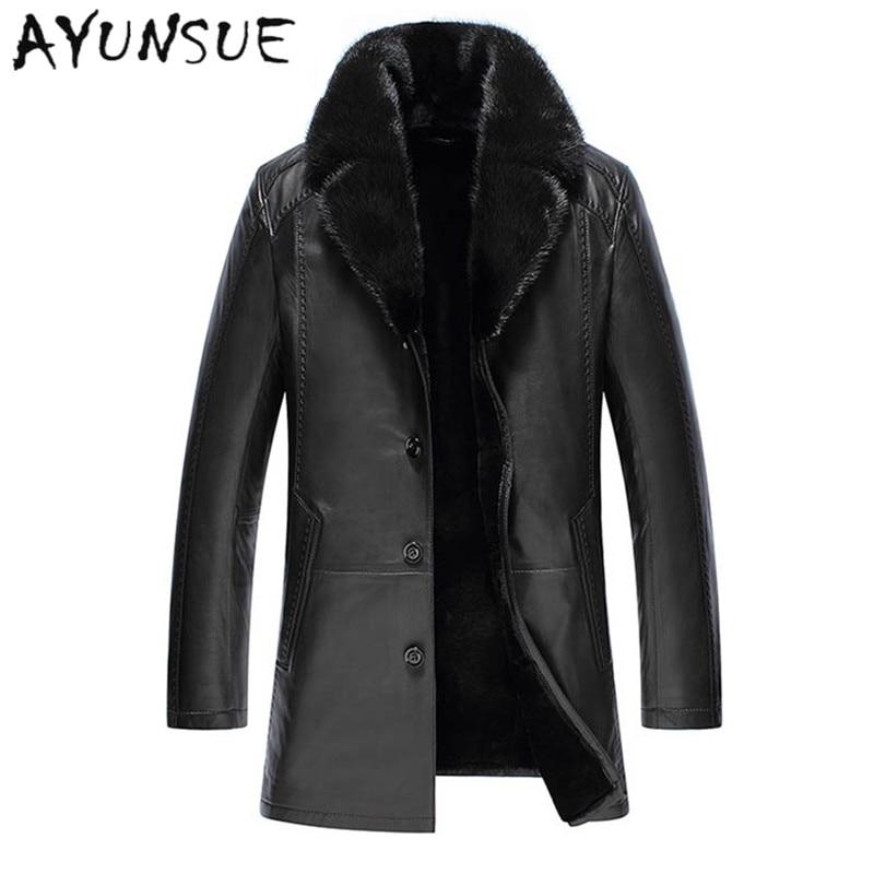 Fashion Black Men Genuine Leather Jacket Men Thick Sable Fur Collar Sheepskin Leather Jacket Down Winter Coat Men 2017 YYJ0014
