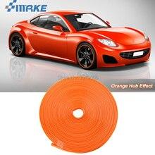 smRKE 8M Car Wheel Hub Rim Edge Protector Ring Tire Strip Guard Rubber Stickers On Cars Orange Styling