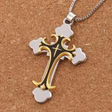20pcs Black Gold color Crucifix Bible Prayer Cross Pendant Men Necklace Chain 24inches N1785 infinity beaded crucifix pendant layered necklace