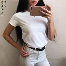 Summer Casual 15 Colors Solid Tshirt Women O-Neck Cotton colorful T shirt Basic Ladies Hot Sale Stretch White Tops tees Loose(China)
