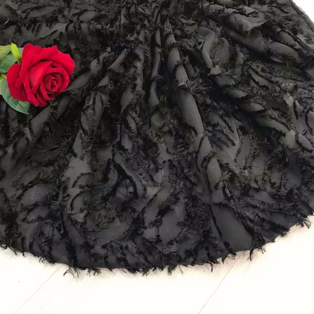 BEAUTIFICAL Nigerian lace fabrics Black 3d chiffon net lace fabric with long wool 2018 New arrival