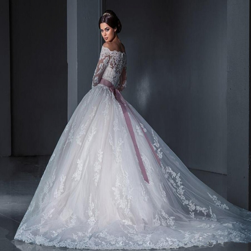 Vintage Lace Ball Gown Wedding Dresses 2017 Long Sleeve Russian ...