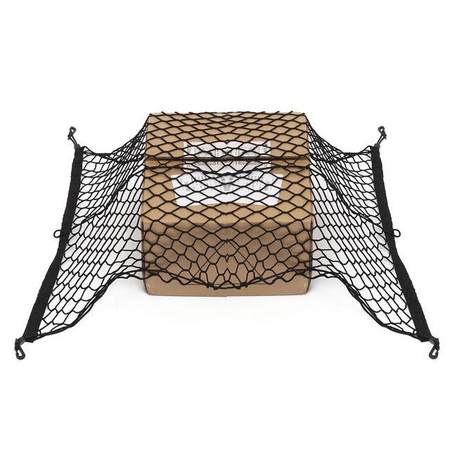 Car Net Luggage Storage Organizer Tail Mesh With 4 Hooks