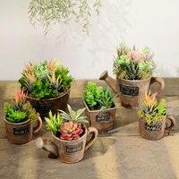 Rustic Succulents Set American Small Bonsai Decoration Home Desktop Soft Decoration Flower Pot For Table And