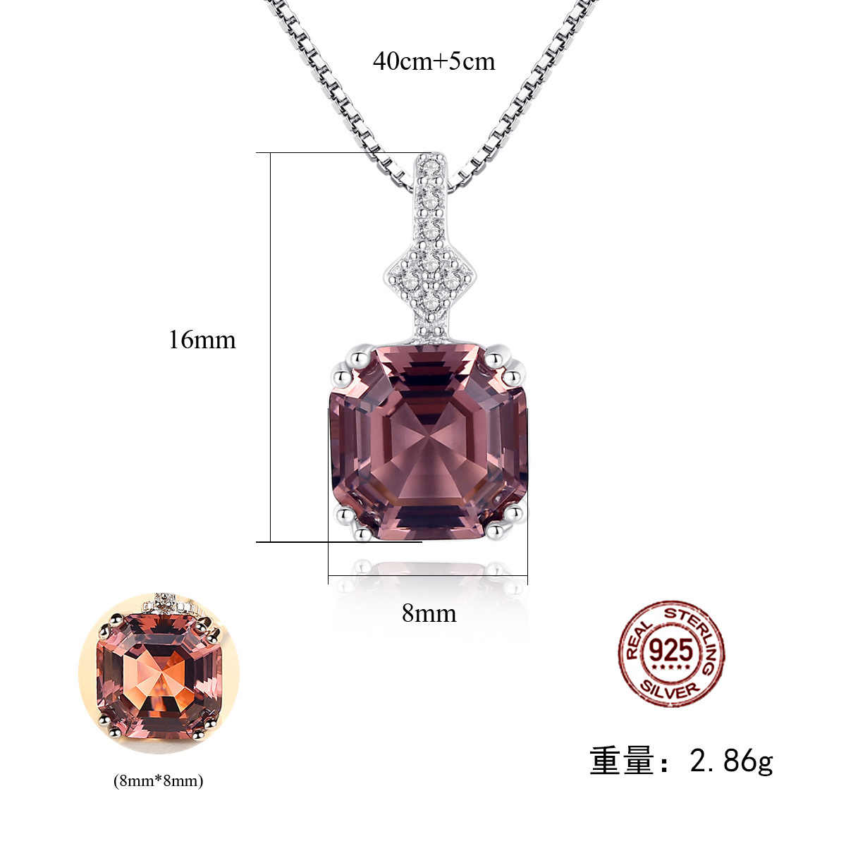 Wong Chuva 100% 925 Prata Esterlina Moissanite Criado Diamantes Pedra Preciosa Morganite Ouro Branco Pingente de Colar de Jóias Por Atacado