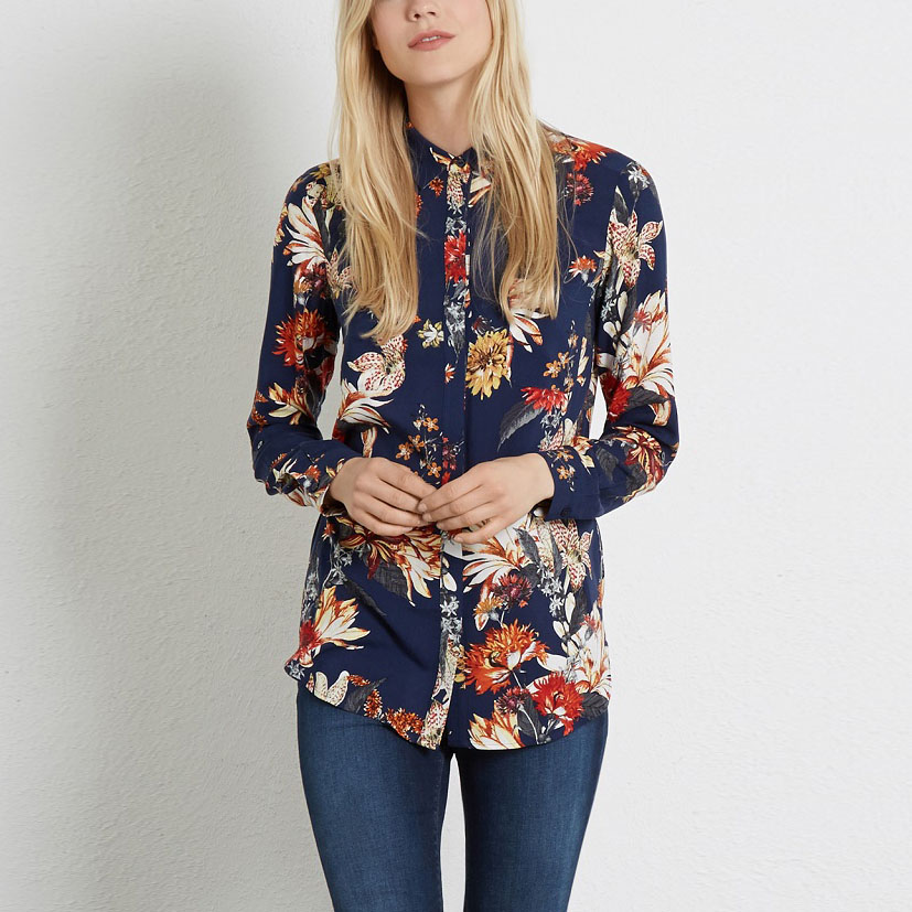 Buy new arrival printed blouses turndown for Women s collared button up shirts