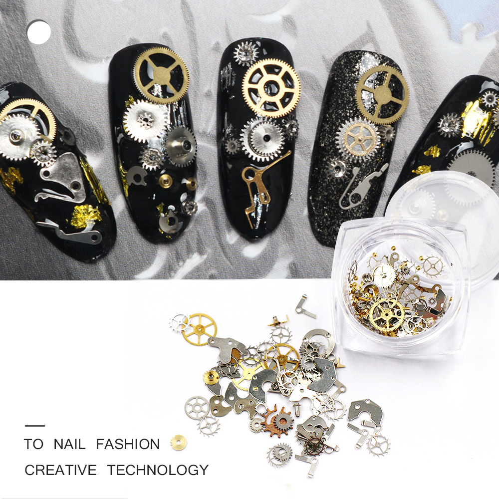 1Box ​​Ultra-tynde Punk Style Rhinestones til Nails Studs 3D Nail Art Dekorationer Nails Suplies Gold Steam Wheels Nailart Værktøj