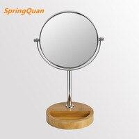 SpringQuan 8 pollice Naturale di bambù rotondo specchio per il trucco classico double side metallo Cosmetic mirror 3X zoom Super stabilità