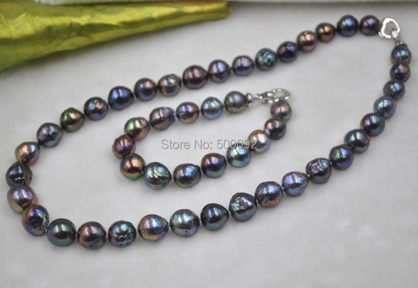 1 Set 11-14mm Furrow Kasumi black pearl necklace & bracelet 1 Set 11-14mm Furrow Kasumi black pearl necklace & bracelet