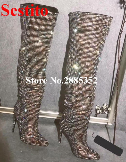Sestito Over The Knee Boots Luxury Bling Crystal Rhinestone Boots Pointed Toe High Heels Thigh High Boots Dress Shoes Women