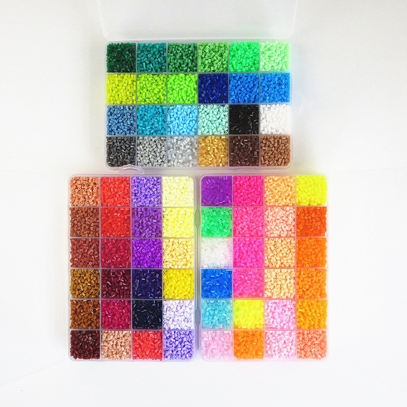 все цены на 72 Colors Soft Perler Beads DIY Creative Puzzles Hama Beads Set Deluxe Suite Tangram Jigsaw Board Children Kid Educational Toys онлайн