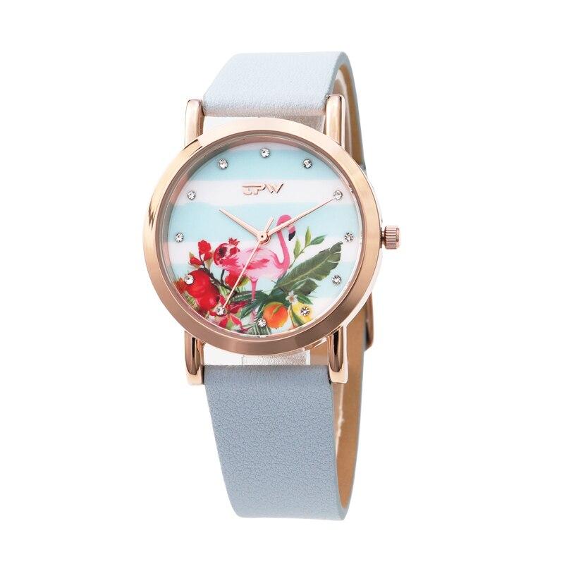 Tropical patrón reloj flamingo pájaro en dial candy correa de Rosa precioso para las niñas rosa azul cielo correa