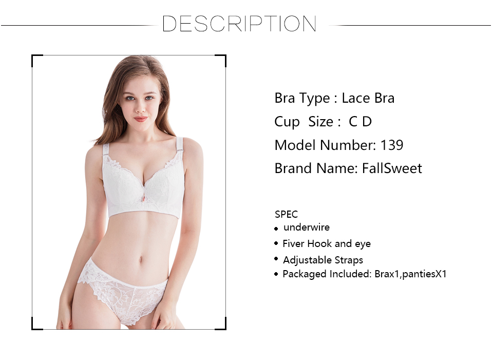 b31c4562fa97a FallSweet Plus Size Bra Set Push Up Bras and Panty Set Wide Back ...
