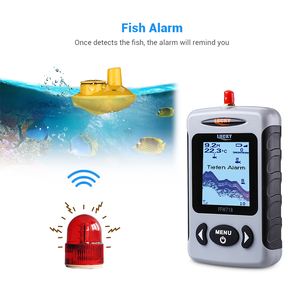 Image 4 - Lucky FFW718 Wireless Fish Finder Waterproof 147.6FT Sonar Depth Sounder Ocean River Lake Sea Ice Fishing Russian English Menu-in Fish Finders from Sports & Entertainment