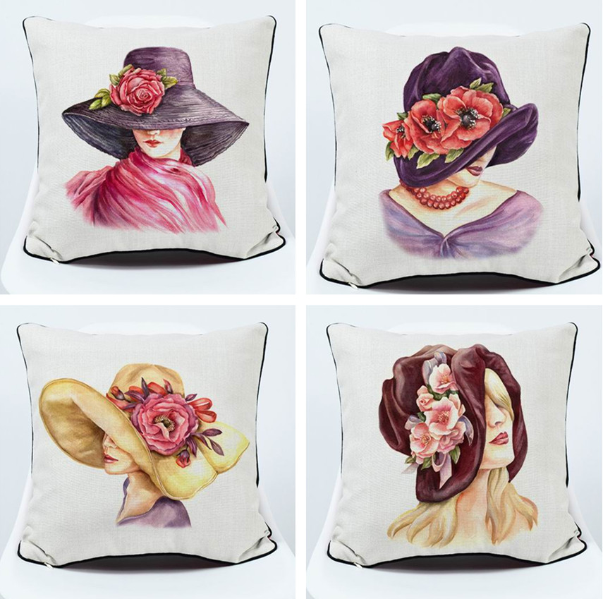 Home & Garden Professional Sale Drop Ship Elegant Lady Pillow Cover Fashion Hat Cushion Cover Throw Pillow Home Decor Pillowcase Decorative Pillowsham Meticulous Dyeing Processes Cushion Cover