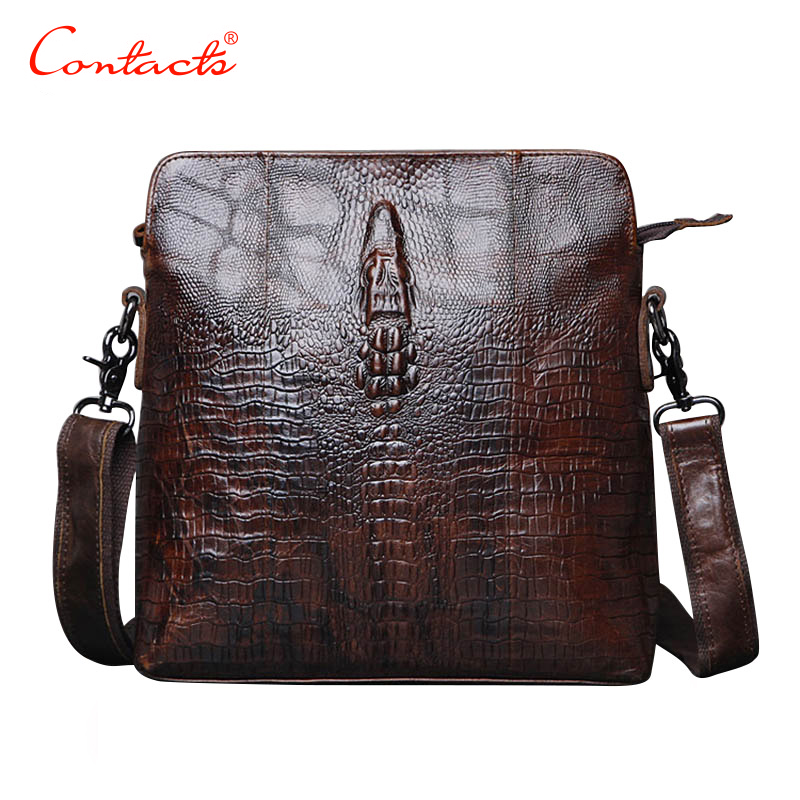 все цены на  CONTACT'S Guarantee Genuine Leather Men Bags Handmade Alligator Famous Brand Design Messenger Bag High Quality Man Brands Bags  онлайн