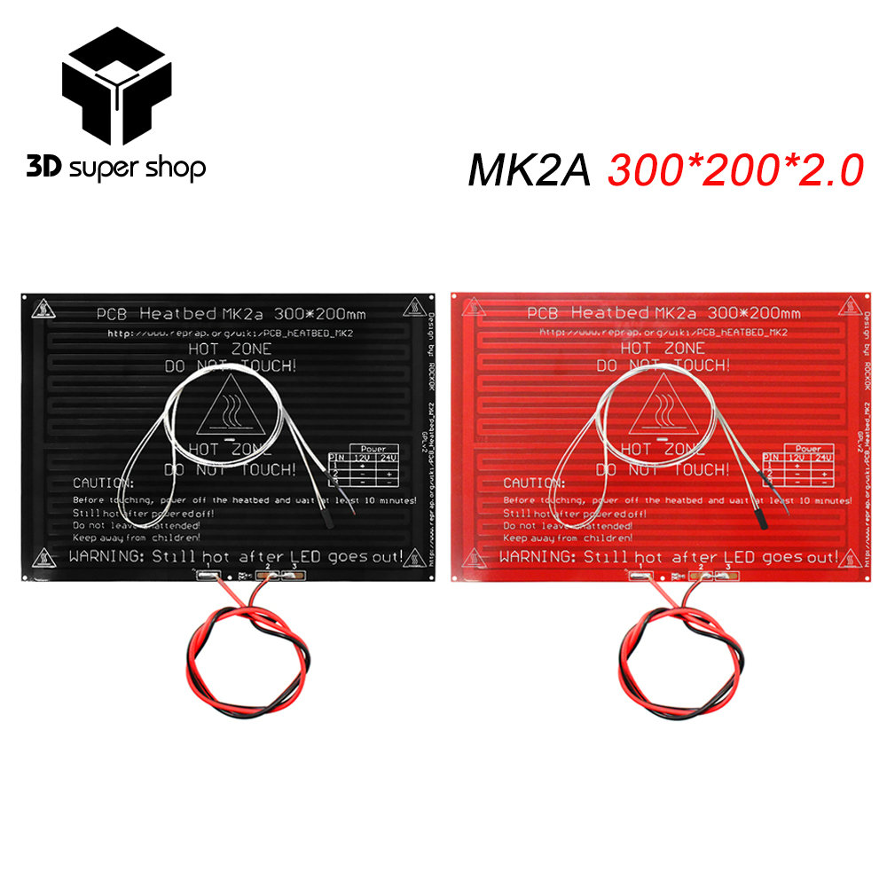 цена на MK2A Heatbed 300*200*2.0 with 100K ohm NTC 3950 Thermistors and cable RepRap RAMPS 1.4 hot bed for 3D printer parts black/red
