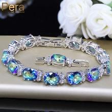 Pera Модные женские вечерние ювелирные изделия натуральный светильник синий овальный Радуга Мистик кристалл камни браслеты для подарок на день рождения B087
