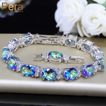 Pera Fashion Women Evening Party Jewelry Natural Light Blue Oval Rainbow Mystic Crystal Stones Bracelets For Birthday Gift B087