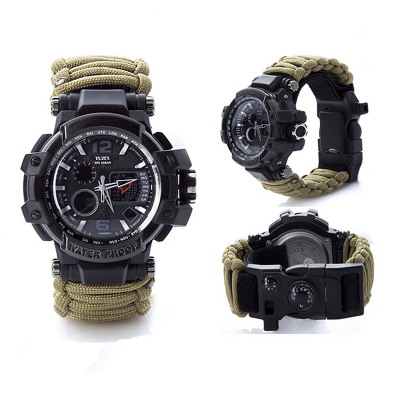 Outdoor survival watch paracord camp equipment (8)