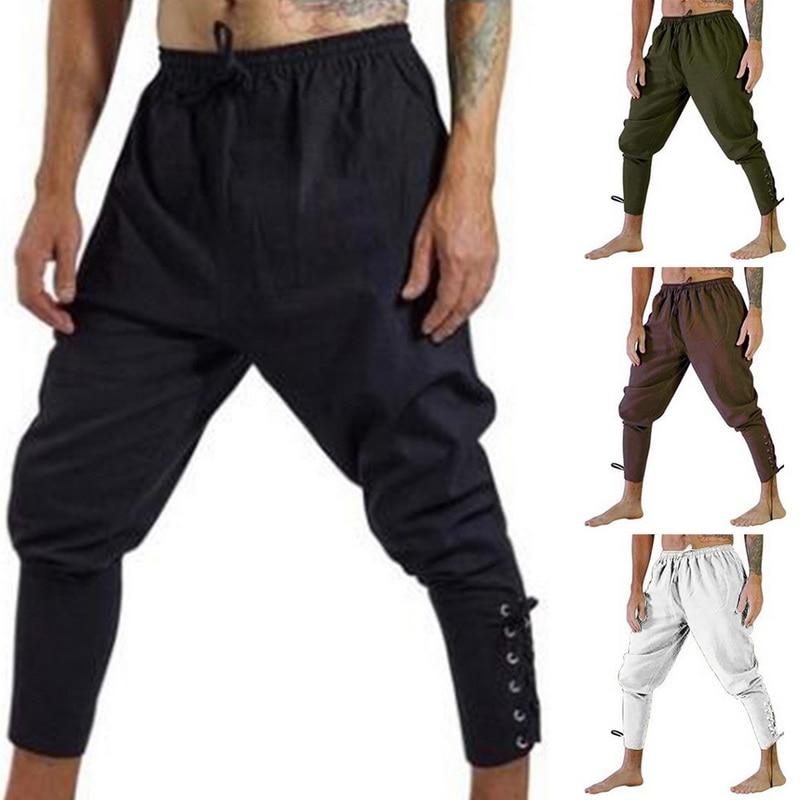 OLOME Men Casual Pants Halloween Medieval Pirate Horseman Cosplay Costume Loose Pants Viking Black Navigator Leg Bandage Trouser