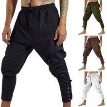 OLOME Men Casual Pants Halloween Medieval Pirate Horseman Cosplay Costume Loose Viking Black Navigator Leg Bandage Trouser