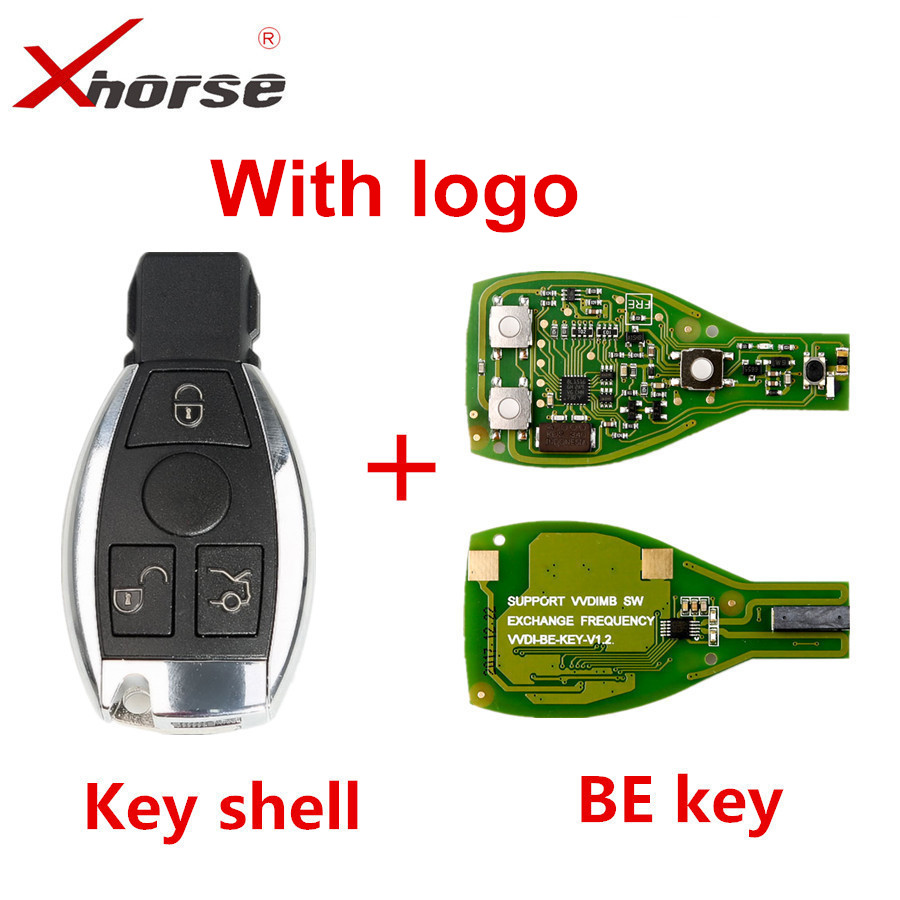 XHORSE VVDI BE Key Pro For Benz V1.5 PCB Remote Key Chip Improved Version Smart Key Shell With Logo Can Exchange MB BGA Token