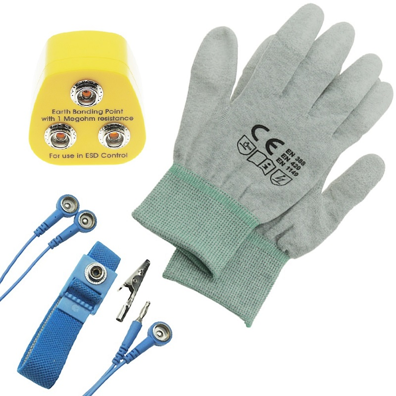 1 Sets Earth Bonding Plug UK EBP Anti Static ESD With Antistatic Wrist Strap And ESD Glove For DIY Grounding Workstation